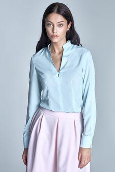 Cotton 98 % Spandex 2 % Size Hips Chest Waist L cm cm cm M cm cm cm S cm cm cm XL cm cm cm Blouse Models, Shapewear, Mock Neck, Light Blue, Fancy, Cotton, Tops, Women, Products