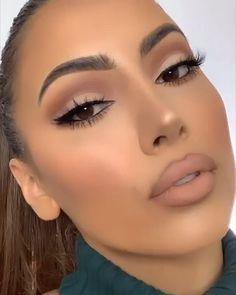 Makeup Tutorial Eyeliner, Makeup Looks Tutorial, Contour Makeup, Eyebrow Makeup, Skin Makeup, Makeup For Eyes, Easy Makeup Looks, Makeup Night Out, Red Lipstick Makeup Looks