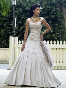 A-Line Ball Gown Princess Scoop Off the Shoulder Dropped Cap Sleeve Non-Strapless Satin Taffeta Wedding Dress