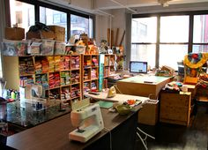 Victoria Findlay Wolfe's lovely NYC studio.