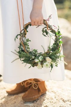 Flower Girl with Moccasins and a Floral Wreath | Carlie Statsky Photography | Earthy and Organic Wedding Shoot in Soft Neutrals and Copper