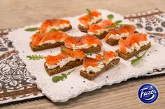 Canapes with smoked trout and curd cheese