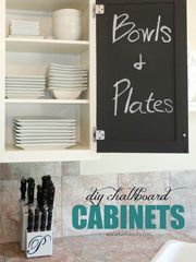 Chalkboard Cabinets Chalkboard Paint Kitchen, Painting Kitchen Cabinets, Kitchen Paint, Kitchen Decor, Kitchen Cupboards, Kitchen Tips, Diy Kitchen, Kitchen Ideas, Painting Laminate Furniture