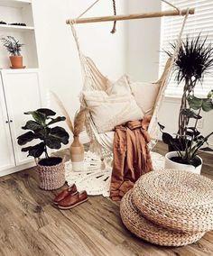 Swing Chair For Bedroom, Hammock Swing Chair, Swinging Chair, Hammock In Bedroom, Beige Pillow Covers, Beige Pillows, Room Ideas Bedroom, Bedroom Decor, Bedroom Inspo