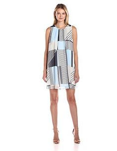 Calvin Klein Women's Printed a-Line Dress Sleeveless printed A-line dress with inverted pleat detailBack zipper openingApproximately knee length  Dresses, outfits, outfits for girls, outfits for school, outfits for winter 2017, outfits for women, outfits with jeans and boots, strapless dresses