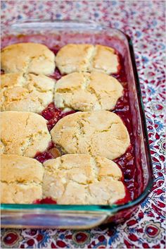Rhubarb raspberry cobbler with cornmeal biscuits. Photo: Andrew Scrivani for The New York Times