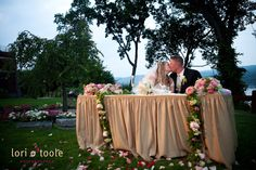 Cute bride & groom sweetheart table along the Hudson River at a beautiful West Point wedding! See more photos from lori o'toole photography here: http://www.loriotoole.com/west-point-and-the-hotel-thayer-wedding/