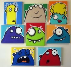 a WaLL fULL oF UgLiEs set of 8 810 original paintings on multiple canvases for kids room or nursery monster art monster paintings Painting For Kids, Art For Kids, Arte Tribal, Fete Halloween, Wall Drawing, Cute Monsters, Monster Art, Art Plastique, Elementary Art