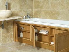 house bathroom Stonewood UK custom made storage bath panel Bath Panel Storage, Clever Bathroom Storage, Clever Storage Ideas, Storage Tubs, Creative Storage, Hidden Storage, Extra Storage, Diy Storage, Bathroom Organization
