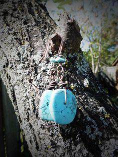 Wire wrapped turquoise earrings-bohemian-natural jewelry-boho jewelry-boho chic-turquoise jewelry-gemstone earrings-turquoise dangle earring by ArtandSoulStudios on Etsy
