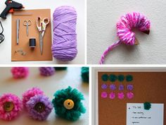 Add a pouf of pretty to your work space with these fabulously fluffy DIY pom-pom push pins