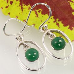 Women's Fashion Earrings Genuine GREEN ONYX Round Gemstones 925 Sterling Silver #SunriseJewellers #DropDangle
