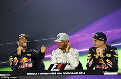 Hamilton and Verstappen were present in the press conference when Ricciardo made his gaffe...