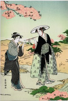 "Japanese Ukiyo-e Woodblock print Kubo Shunman ""Women Smoking Under Cherry Blossoms"""