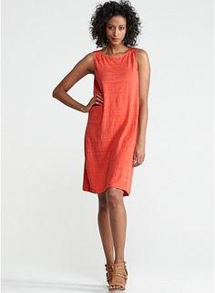 Ballet Neck Knee-Length Shift Dress in Linen Jersey with Mini Stripe - Eileen Fisher