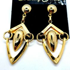 "90s Gold Tone Modern Geometric 2.75"" Long Articulated Dangle Pierced Earrings #WakebyForest #DropDangle Pierced Earrings, Drop Earrings, 90s Jewelry, Dangles, Modern, Gold, Ebay, Trendy Tree, Stud Earring"