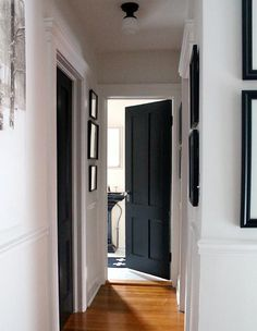 black doors interior before and after ; black doors and trim ; Paint Doors White, White Interior Doors, Dark Doors, Black And White Interior, Painted Doors, Interior Paint, Interior And Exterior, Black And White Hallway, Interior Windows