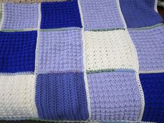 Purple and white blocks #crochet afghan