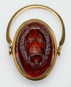Oval gem with the head of Sirius (the Dog Star)  Roman, Republican or Early Imperial Period, 1st century B.C.