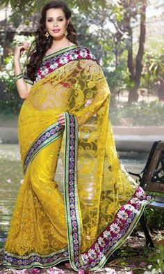 $142.5 Yellow Net Embroidered and Stone Work Wedding Saree 24559