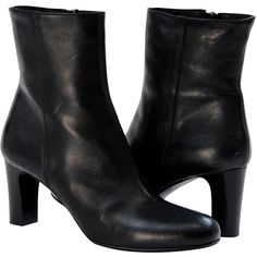 PAOLO IANTORNO Adele Black Classic Mid Calf Boot ($259) ❤ liked on Polyvore