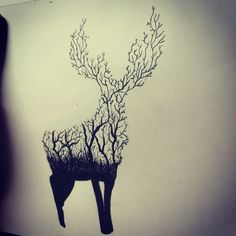 Abstract Drawing of a deer