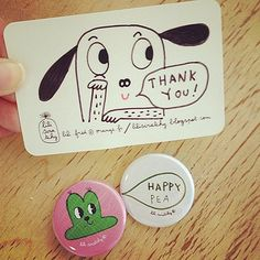Badges & Postcards by Lili Scratchy – New at the little dröm store. And a hand drawn thank you card drawn by her! ♥ ❤ ❥ ♥ ❤ ❥