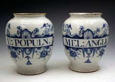 Pair of Lambeth Pottery London Delft drug Jars c1720;  Also on my wishlist!