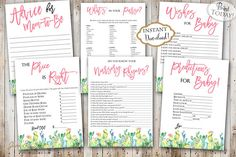 Every baby shower needs fun activities. This pack includes 6 fun games for your guests and you to play. You can keep the printables as a keepsake and share them with your baby when he/she gets older. INSTANT DOWNLOAD  Printable Southwest Cactus Succlent Baby Shower Games perfect for a bohemian baby shower celebration. Find more coordinating printables at JanePaperie: https://www.etsy.com/shop/JanePaperie