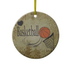Grunge Basketball Ornament 2. Personalize with name and year on the back. A Great gift for the Basketball Players in your life.  Look for more items in my store.   Designs by DonnaSiggy.  #Christmas,#ornament,#basketball