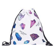 Galaxy diamonds 3D Printing backpack women mochila 2017 fashion bag organizer school bags for teenagers sac a dos drawstring bag