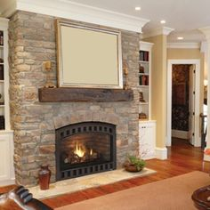 Stone fireplace with solid mantle
