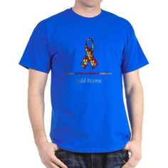 Cafepress Personalized Autism Support Dark T-Shirt, Size: XLarge Tall, Blue