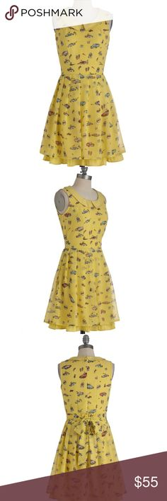 "Modcloth Let's Go for a Drive-in Dress Sold-out Yumi U.K. Yellow dress with a totally cute retro print. Peter Pan collar. Fully lined. Sash ties at waist. 100% polyester. 35"" length ModCloth Dresses"
