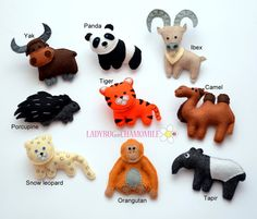 Asian animals Felt magnets - CHOOSE YOUR ITEMS - Price per 1 item - make your own set ,Panda, Tiger,Orangutan,Yak, Snow leopard,Camel