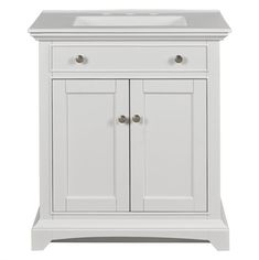 Shop Style Selections 30 Inch Freestanding Single Sink Style Bathroom Vanity with Vitreous China Top, White at Lowe& Canada. Find our selection of bathroom vanities at the lowest price guaranteed with price match. Small Bathroom Plans, Small Bathrooms, White Vanity Bathroom, Bathroom Vanities, 30 Inch Vanity, Rustic Vanity, Engineered Stone, White Sink, Single Sink