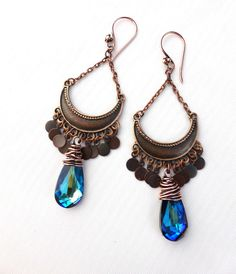 Blue Swarovski teardrop crystal wire wrapped, with small charms, chain and pendant earrings. -  - McKee Jewelry Designs - 1