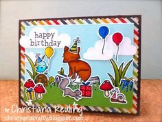 Lawn Fawn - Critters in the Forest, Gleeful Gardens, Critters in the 'Burbs, Year One, Year Two, Year Four, Grassy Border, Spring Showers, Stitched Rectangle Stackables _ festive critter party scene by Christiana via Flickr