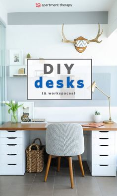 DIY Desks You Can Make In Less Than a Minute | First, pick a base—wood or metal sawhorses, storage cabinets, and trestle legs will all do the trick—then select a work surface, such as plywood or plexiglass. (Just be sure your base is sturdy enough to support the weight of whatever top you choose). Put the two together, and you have a desk you can assemble in under a minute.