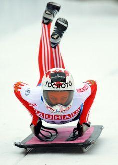 Elena Nikitina competes in the women's skeleton third heat of the IBSF Bob & Skeleton World Championship at Olympia Bob Run on February 1, 2013 in St Moritz, Switzerland.