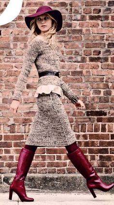 tweed outfit + burgundy boots