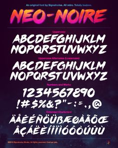 A custom retrowave typeface developed by Signalnoise, paying homage to brush type from the 80s. This font is available for purchase in the Signalnoise Store for a mere $30, and comes packaged with a layered PSD file as an example of use.