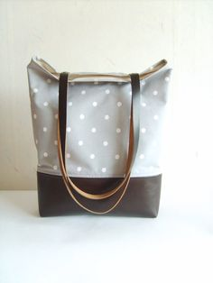 Polka dot tote bag, leather and canvas tote, grey tote bag, real leather…