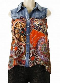 Denim and Silk Sleeveless Top. Picture only