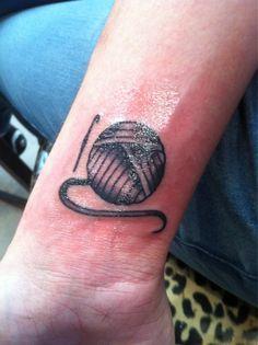 yarn and crochet hook tattoo