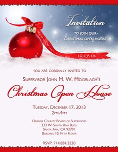 Snowflake on Red Holiday Open House Invitation | Holiday Open ...