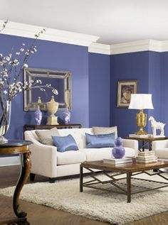 The living room color schemes to give the impression of more colorful living. Find pretty living room color scheme ideas that speak your personality. Home Living Room, Living Room Decor, Living Spaces, Blue Rooms, Blue Walls, Blue Bedroom, Master Bedroom, Room Color Schemes, Room Colors
