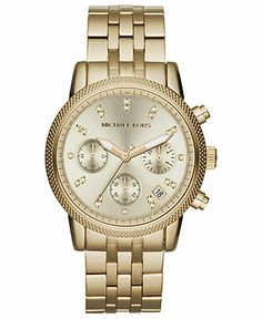 Michael Kors Watch, Women's Chronograph Ritz Gold-Tone Stainless Steel Bracelet 36mm MK5676 - All Michael Kors Watches - Jewelry & Watches -...