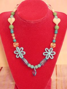 This is a great necklace for children for the spring and summer. Beads are blue, aqua and white. Kids Necklace, Blue Necklace, Beaded Necklace, Handmade Valentine Gifts, Valentine Day Gifts, Hair Clips, Headbands, Kids Outfits, Hair Accessories