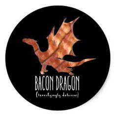 #funny - #Bacon Dragon Classic Round Sticker